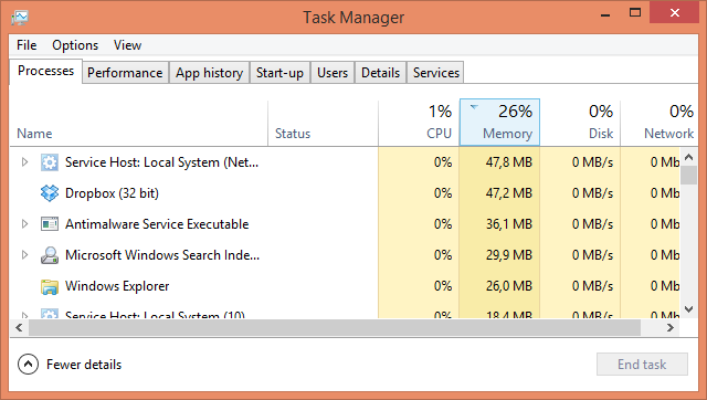 Windows 8 Task Manager Processes