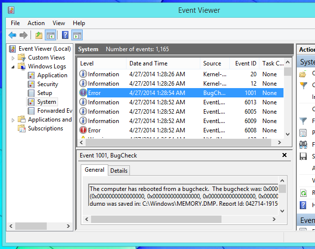 find-error-messages-in-event-viewer-on-windows-8.1
