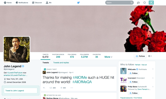 Twitter Changes The Profile Page Design - Again johnlegend 640x382