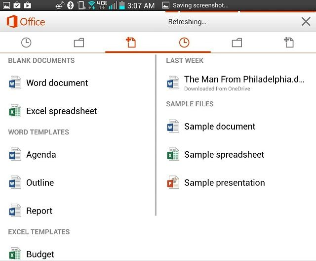 office android menus