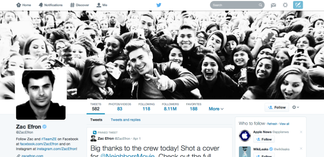 Twitter Changes The Profile Page Design - Again zacefron 640x310