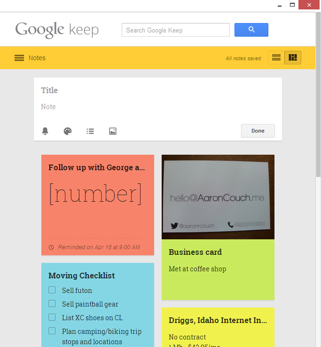 1 Google Keep - new note