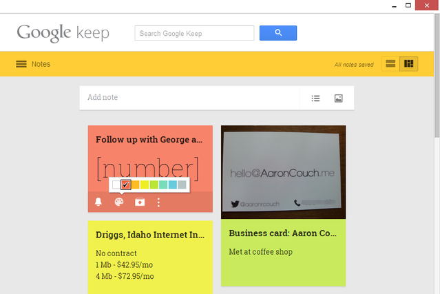 6 Google Keep - Color Options