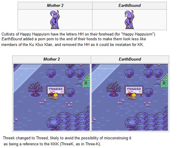 EarthBound Regional Changes