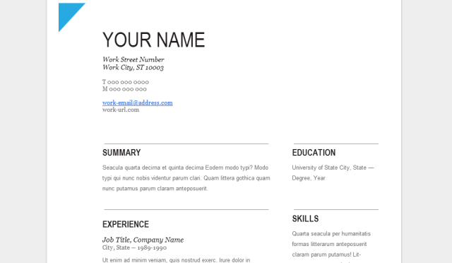 Google Docs Templates At Work Resume