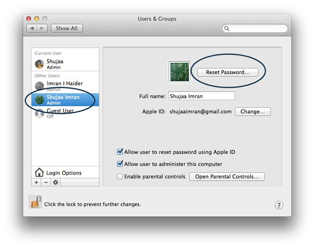 reset password mac os x terminal