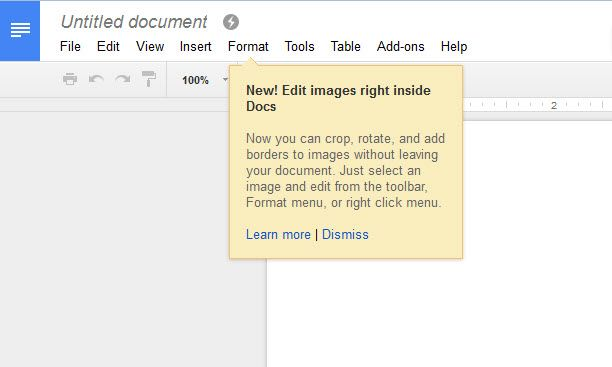 Google Docs Crop Feature