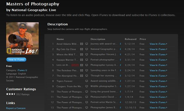 Learning Photography -- iTunes