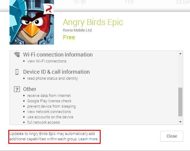Angry Birds Example - Apps Can Add Permissions