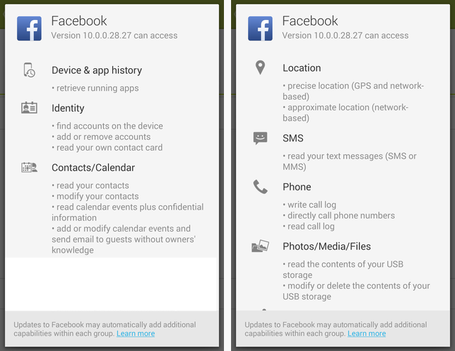 How to use facebook on android without all the invasive permissions facebook app permissions part 1 ccuart Image collections