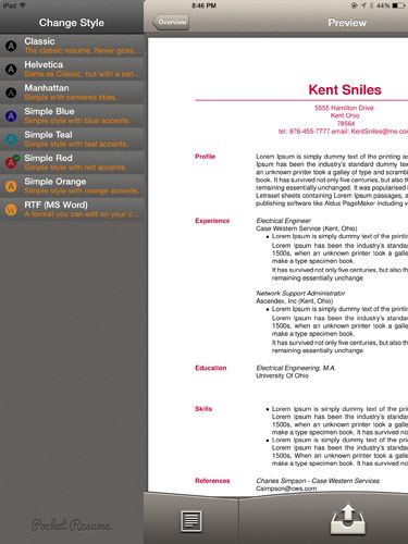 Create Stylish Resumes & CVs On the iPad, No Formatting Required