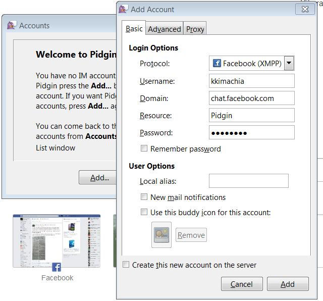 Connect to facebook chat with pidgin definition