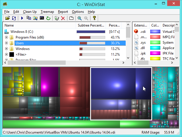 see what's using space on windows drive with windirstat