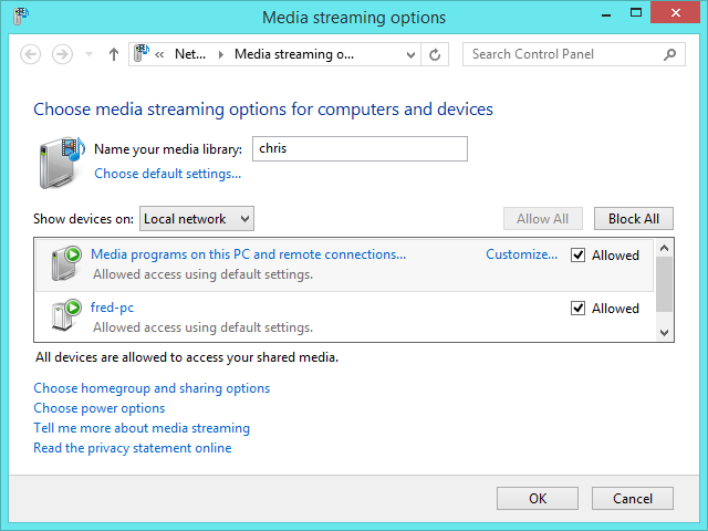 windows 8.1 dlna media streaming options