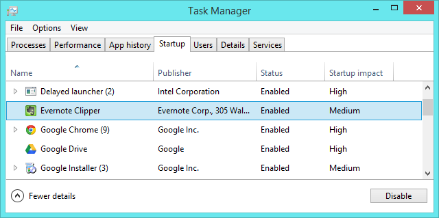 windows 8.1 task manager configure startup programs