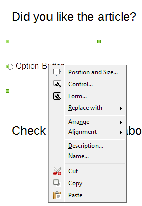 How To Make Free PDF Forms With LibreOffice Draw form control context menu