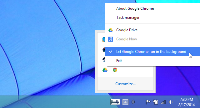 let google chrome run in the background system tray