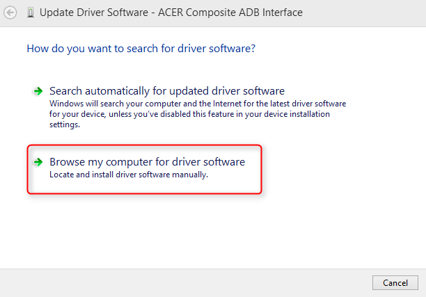 ACER Composite ADB Interface Driver for Windows 7