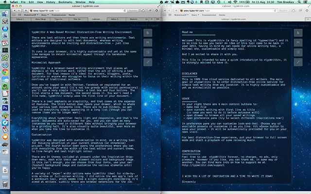 typWrittr: A Customisable Distraction-Free Writing Environment In Your Browser side by side