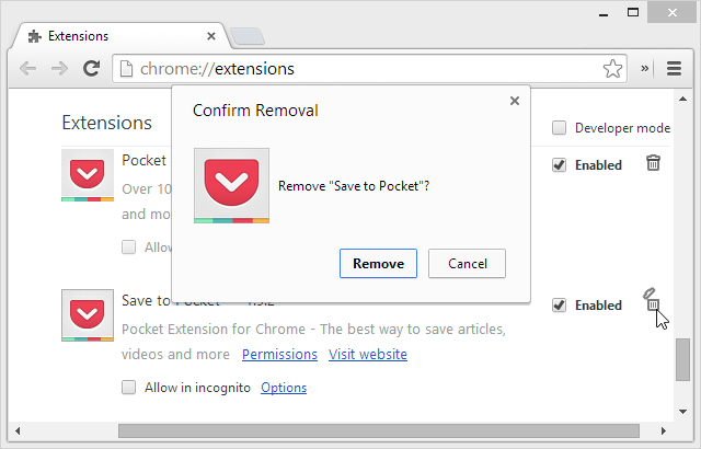 uninstall chrome extension