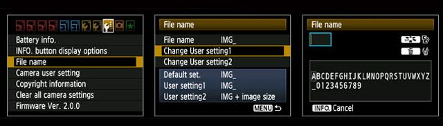 DSLR Settings - File Name