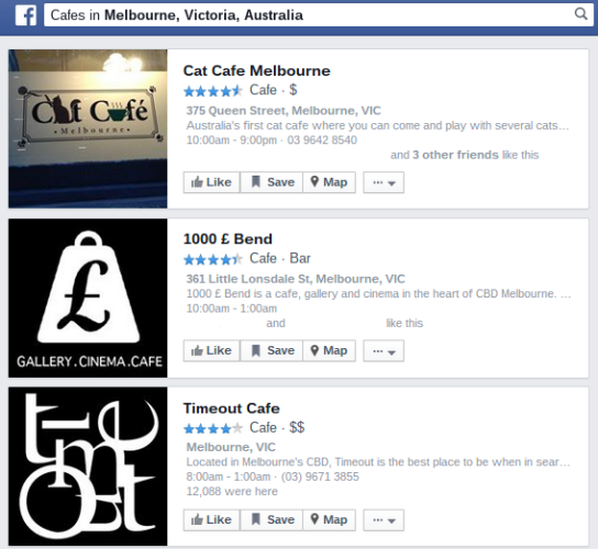 Facebook cafes in melbourne