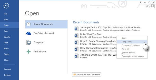 Office Productivity Tip # Copy Files Quickly
