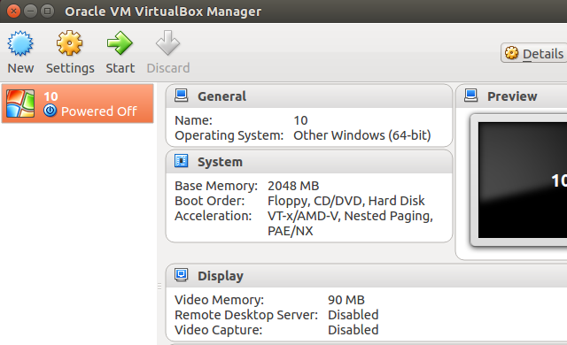 VirtualBox Settings Overview
