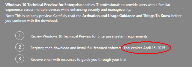Windows 10 Trial Expiry