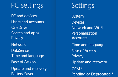 PC Settings Windows 10