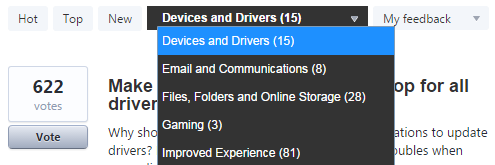 Windows Features Categories