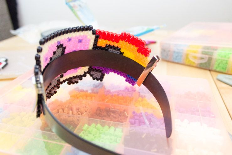 How To Make Your Own Retro 8-Bit Accessories diy pixel art jewelery headband bend and clips