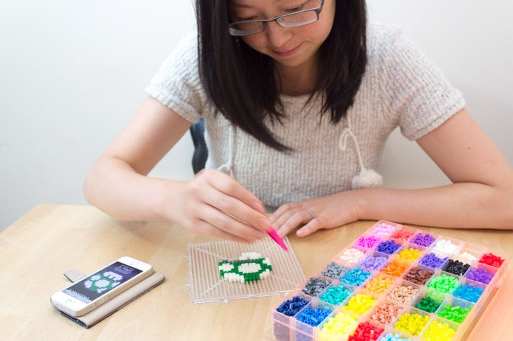 How To Make Your Own Retro 8-Bit Accessories diy pixel art jewelery peg board design