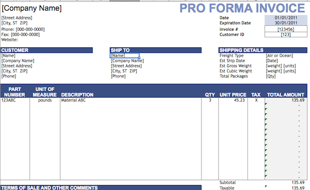 spreadsheets invoice proforma - Template For Invoice