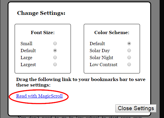 17.2 MagicScroll - Bookmarklet Settings