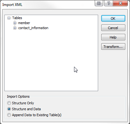 Access 2013 Import XML options