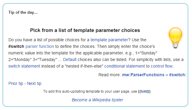 Wikipedia Tip of The Day