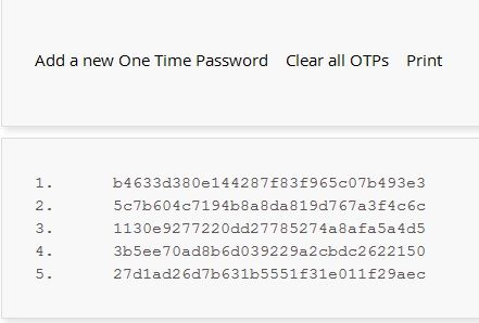 One-time password listing from LastPass