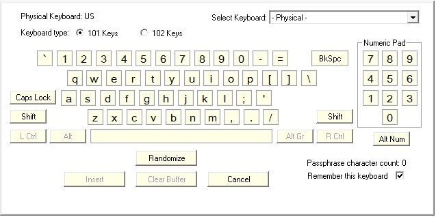Virtual keyboard for Password Safe utility