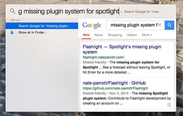 Add Superpowers To Spotlight With This Unofficial Plugin System spotlight plugins flashlight google search