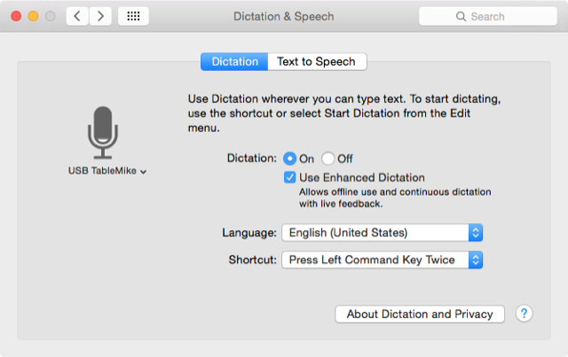 Voice dictation settings