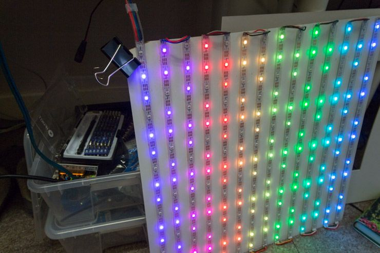 Weekend Project: Build a Giant LED Pixel Display LED display strand test