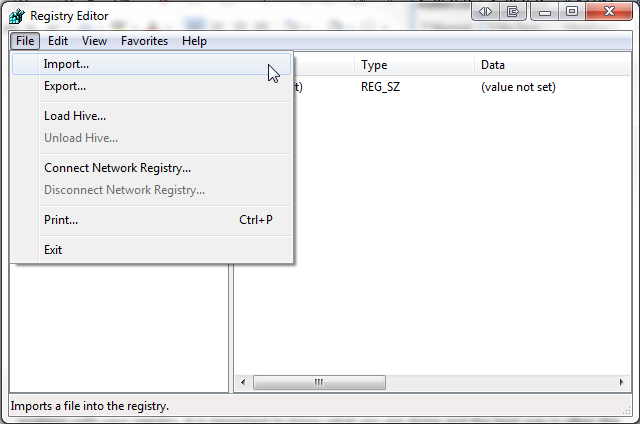 Windows Registry Import