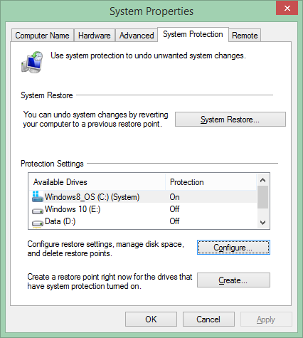System Protection Windows 8