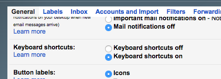 Keyboard Shortcuts You Aren't Using In Your Favourite Web Apps enable shortcuts gmail