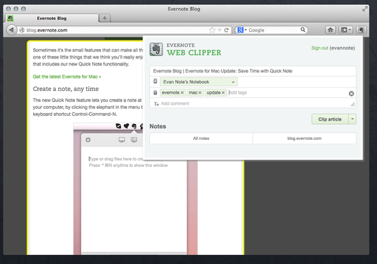 The Best Firefox Addons evernote clipper2
