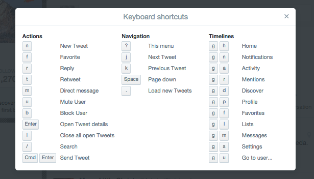 Keyboard Shortcuts You Aren't Using In Your Favourite Web Apps twitter keyboard shortcuts