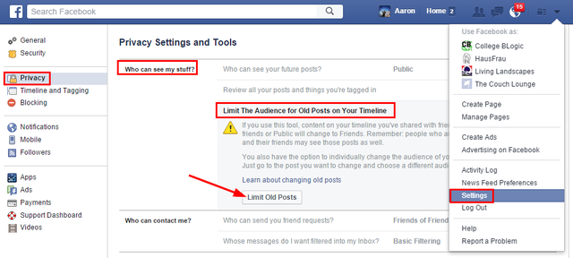 2 Facebook Privacy - Limit Old Posts