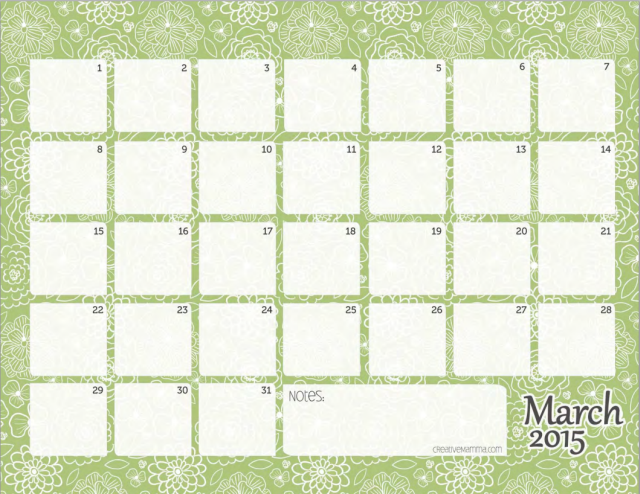 CreativeMomma Monthly Calendar