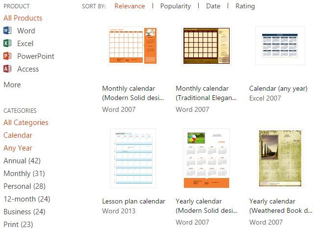 microsoft office templates calendars